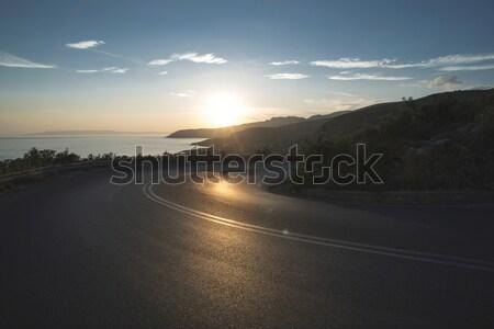 Mediterranean road on sunset Stock photo © deyangeorgiev