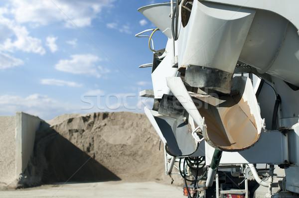 Cimento caminhões areia construção trabalhar industrial Foto stock © deyangeorgiev