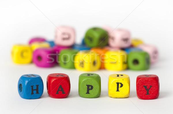 Text happy of colorful cubes Stock photo © deyangeorgiev