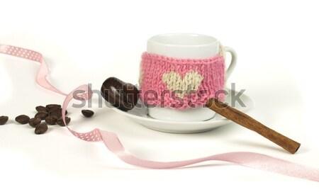 Кубок кофе трикотажный сердце символ Сток-фото © deyangeorgiev