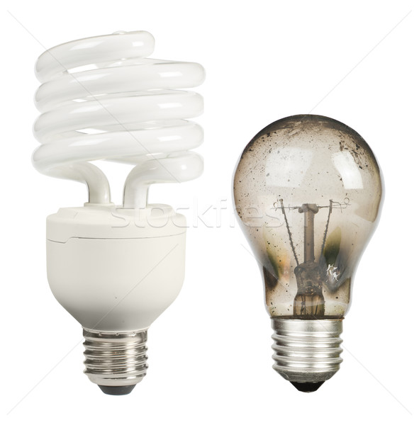 Ecological economical lamp and old burned Stock photo © deyangeorgiev