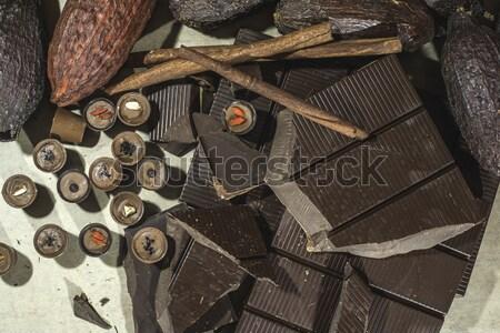Chocolate bonbons and chocolate bar Stock photo © deyangeorgiev