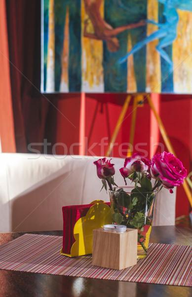 Sanat galerisi çiçekler boya arka plan sanat iç Stok fotoğraf © deyangeorgiev