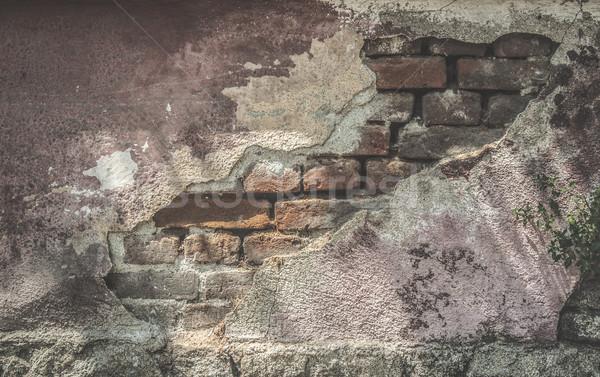 Foto stock: Roto · yeso · pared · de · ladrillo · luz · del · sol · textura · graffiti