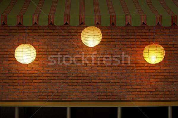 Murem trzy lampy oświetlenie strony Zdjęcia stock © deyangeorgiev