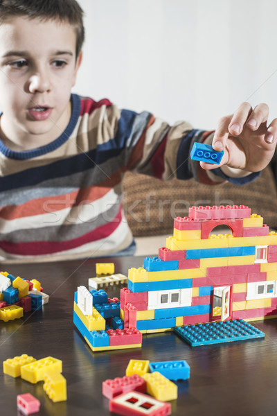 Child play with children's constructor toys Stock photo © deyangeorgiev