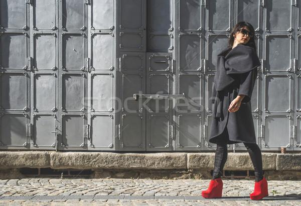 Kadın yürüyüş sokak gri Bulgaristan kız Stok fotoğraf © deyangeorgiev