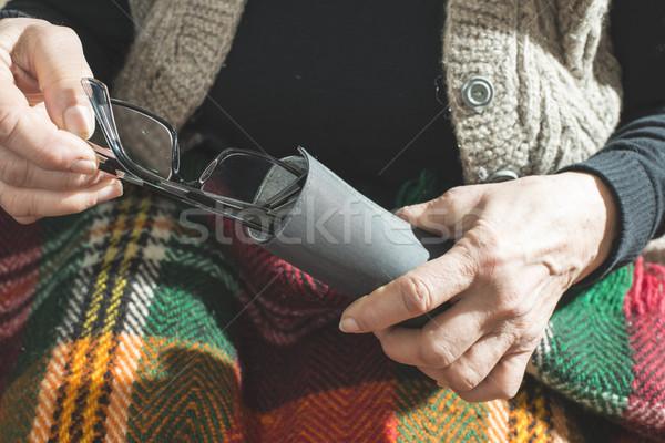 Old women hold glasses Stock photo © deyangeorgiev