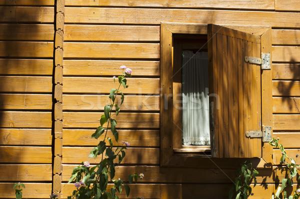 Fából készült bungaló ablak nyitva fa fű Stock fotó © deyangeorgiev