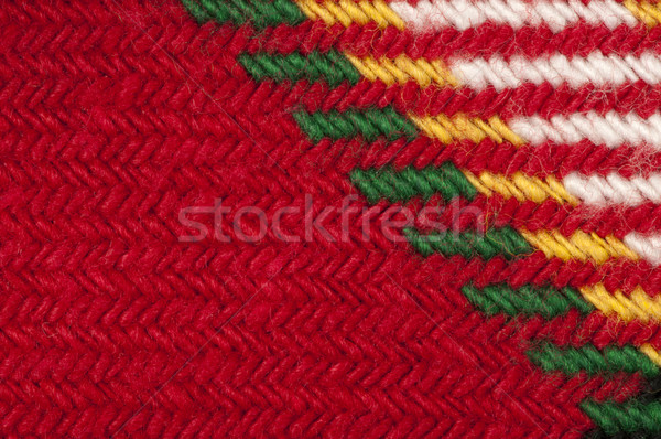 Handmade knit green and red background Stock photo © deyangeorgiev