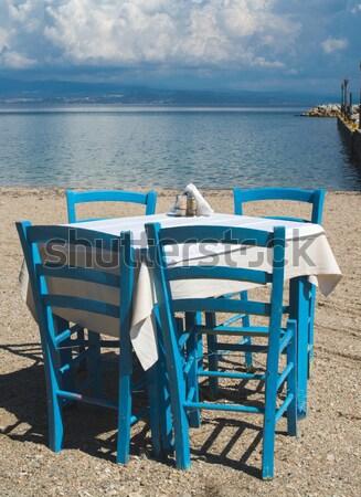 Председатель греческий продовольствие улице морем синий Сток-фото © deyangeorgiev