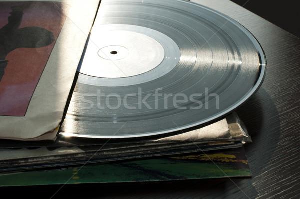 Muziek retro vintage record media vinyl Stockfoto © deyangeorgiev