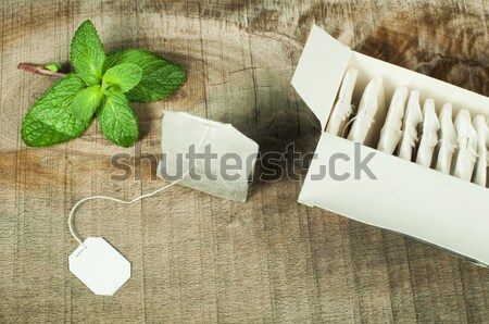 Tea bag and fresh mint Stock photo © deyangeorgiev