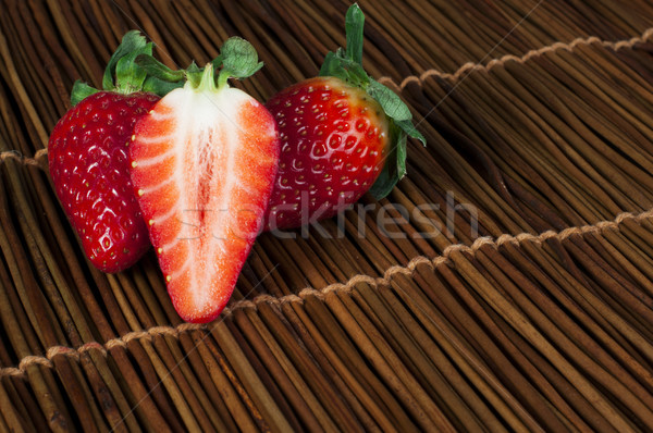 Stock photo: Strawberries on wooden base