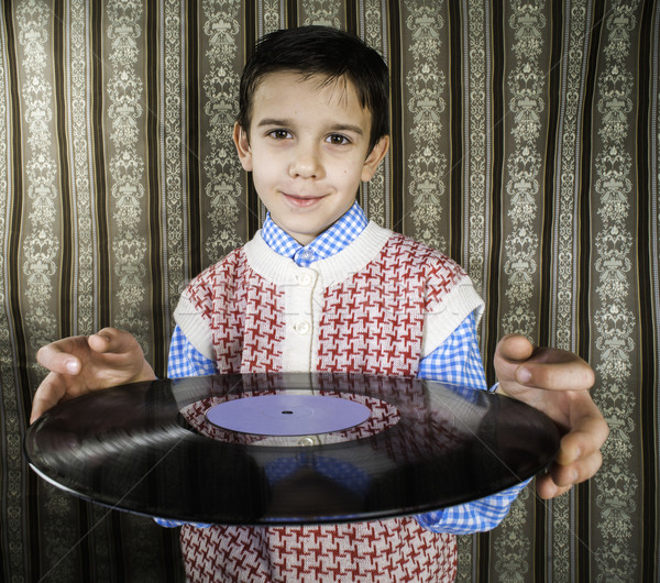 Dziecko utrzymać lp muzyki dziewczyna projektu Zdjęcia stock © deyangeorgiev