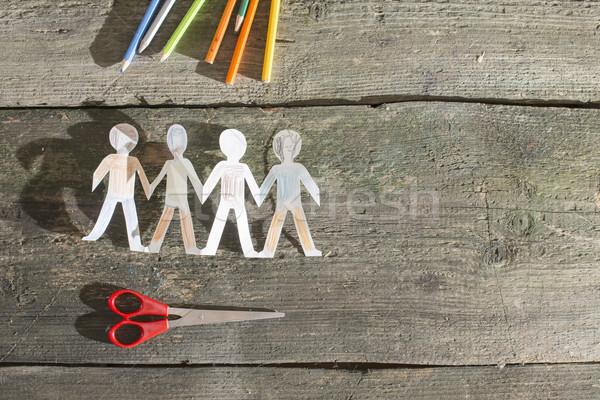 Papier mensen geschilderd witte familie Stockfoto © deyangeorgiev