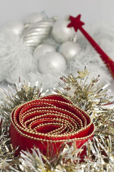 Noel motifler zincirleri kırmızı beyaz Stok fotoğraf © deyangeorgiev