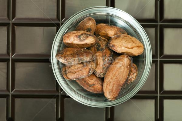 Csokoládé szelet kakaóbab tál csokoládé stressz stúdió Stock fotó © deyangeorgiev