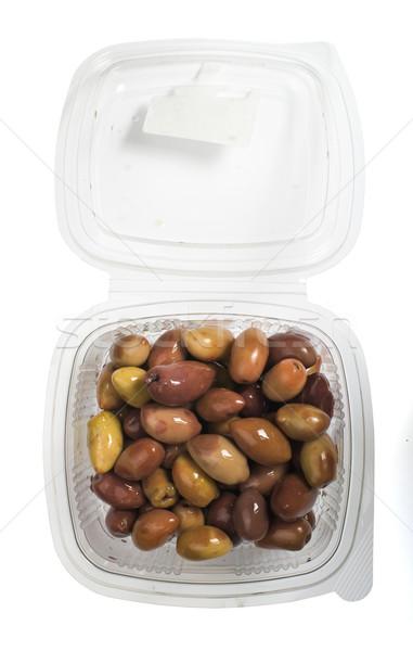 Görög olajbogyók megőrzött étel gyümölcs piros Stock fotó © deyangeorgiev