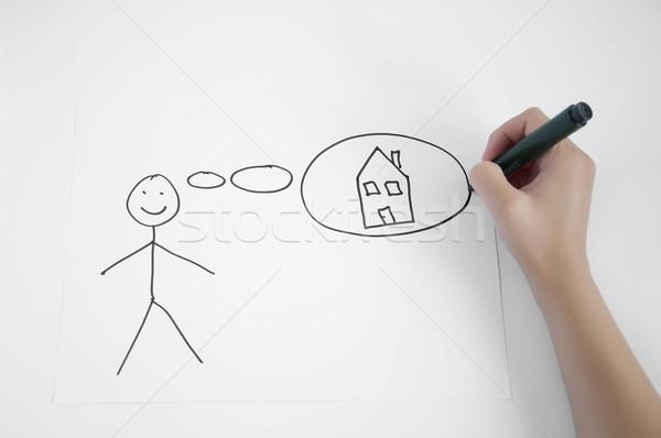 недвижимости необходимость домой белый изолированный бизнеса Сток-фото © deyangeorgiev