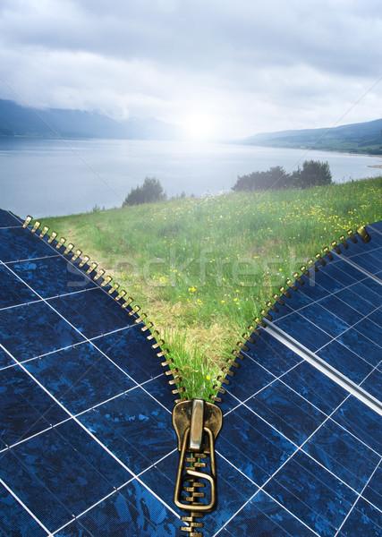 Ecologia painéis solares zíper natureza paisagem tecnologia Foto stock © deyangeorgiev