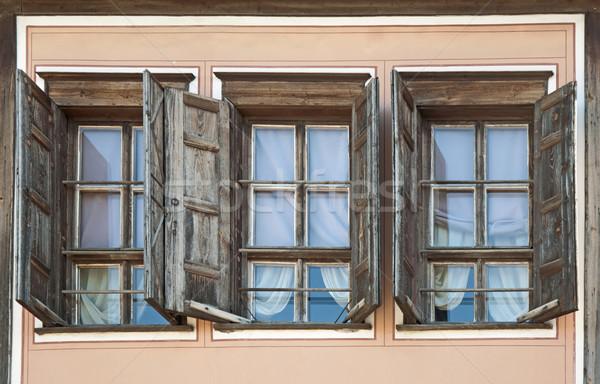 ストックフォト: 3 · 古い · 窓 · 家 · ツリー