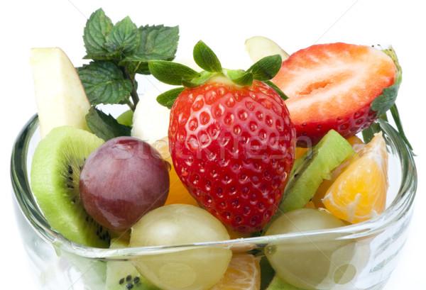 Salade de fruits verre bol blanche pomme vert Photo stock © deyangeorgiev