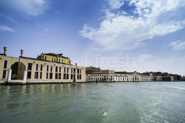 Ancient buildings in Venice. Boats moored in the channel Stock photo © deyangeorgiev