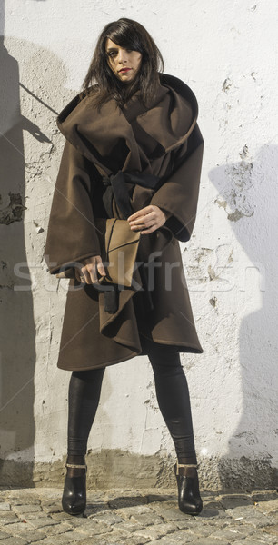 Kız kahverengi yün ceket sokak kadın Stok fotoğraf © deyangeorgiev