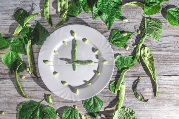 Boon groene bonen witte plaat klok voedsel Stockfoto © deyangeorgiev