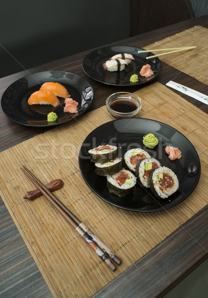 Sushi in sushi bar Stock photo © deyangeorgiev