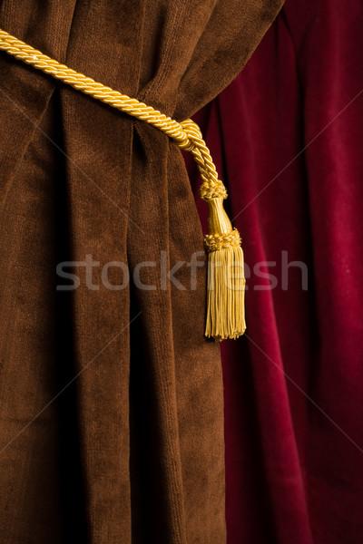 Rojo marrón teatro cortina amarillo marco Foto stock © deyangeorgiev