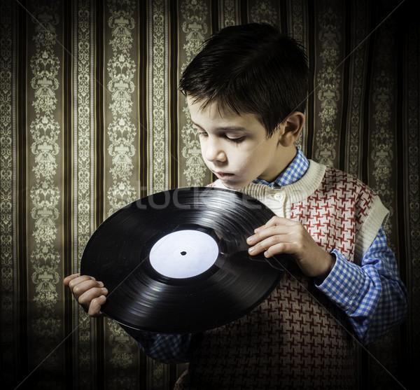 Kind houden lp muziek meisje ontwerp Stockfoto © deyangeorgiev