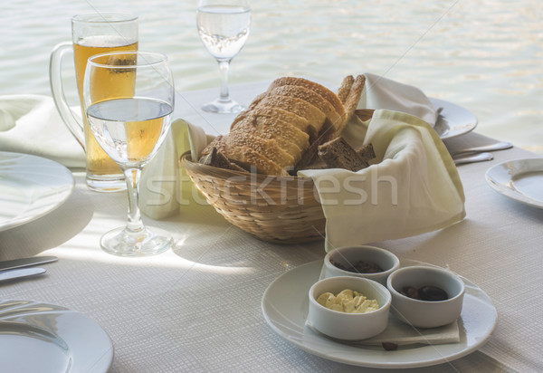 Close up table in greek restaurant Stock photo © deyangeorgiev