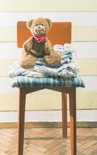 Teddybeer baby kamer stoel muur kind Stockfoto © deyangeorgiev