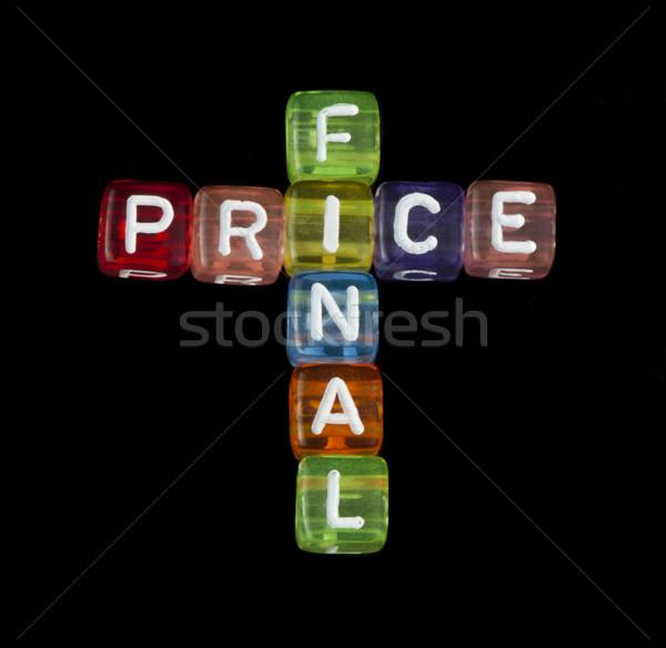 Mot finale prix noir isolé cubes Photo stock © deyangeorgiev