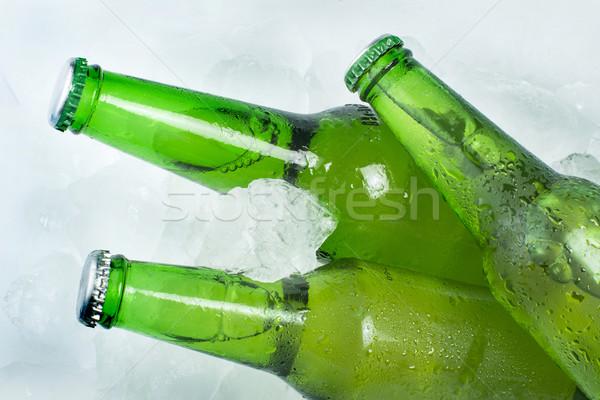 ストックフォト: 緑 · ボトル · ビール · アイスキューブ · 氷 · バー