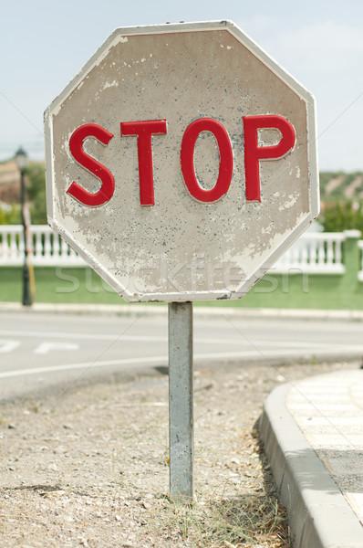 Road sign stop Stock photo © deyangeorgiev