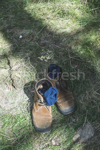 Edad cuero zapatos calcetines azul Bulgaria Foto stock © deyangeorgiev