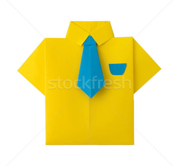 Origami jaune shirt cravate blanche isolé Photo stock © deyangeorgiev