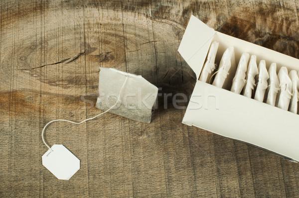окна чай мешки древесины сумку Label Сток-фото © deyangeorgiev