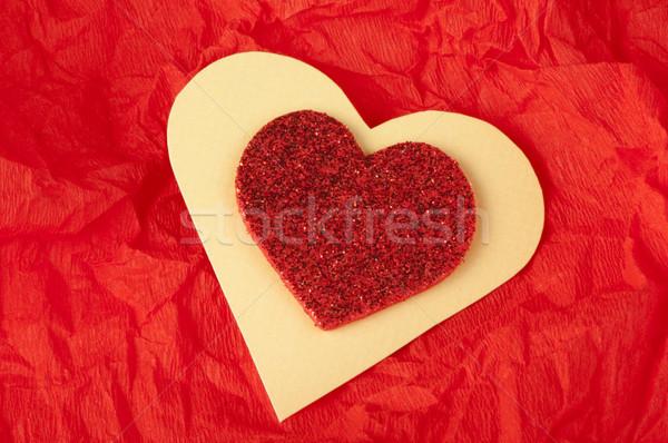 Red heart brocade shape Stock photo © deyangeorgiev