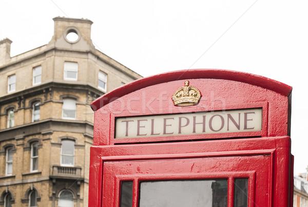 赤 電話 ロンドン ヴィンテージ 通り ボックス ストックフォト © deyangeorgiev