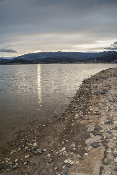 Dam in mountain on sunrise Stock photo © deyangeorgiev