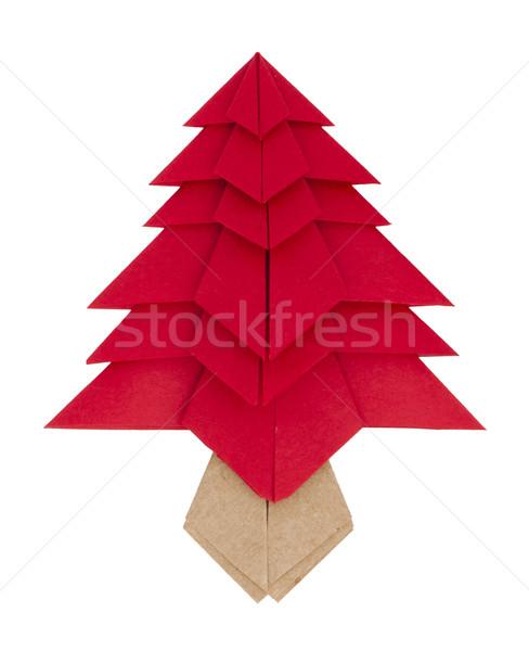 Vermelho árvore de natal papel origami sempre-viva árvore Foto stock © deyangeorgiev