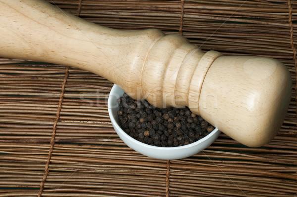 ボウル 黒コショウ 木製 コショウひき 食品 キッチン ストックフォト © deyangeorgiev
