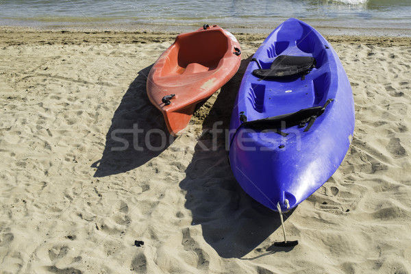 Strand Blauw Rood Italiaans hemel zee Stockfoto © deyangeorgiev
