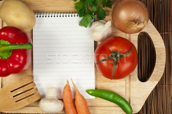 Notebook scrivere ricette verdura in giro foglia Foto d'archivio © deyangeorgiev