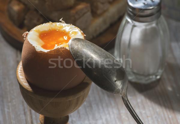 卵 表 ゆで卵 朝食 卵 カップ ストックフォト © deyangeorgiev