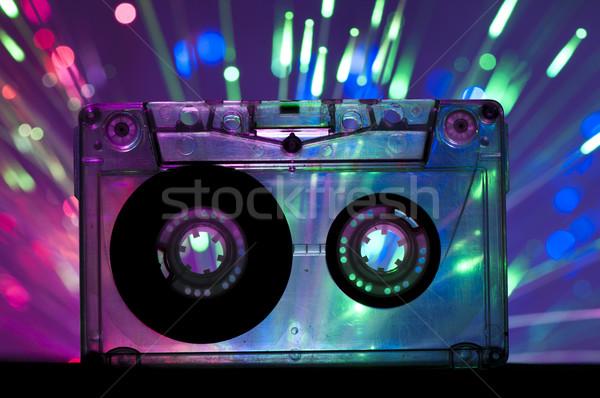 Transparent Cassette tape and disco light background Stock photo © deyangeorgiev